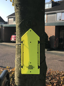 Transparante sticker op pijl